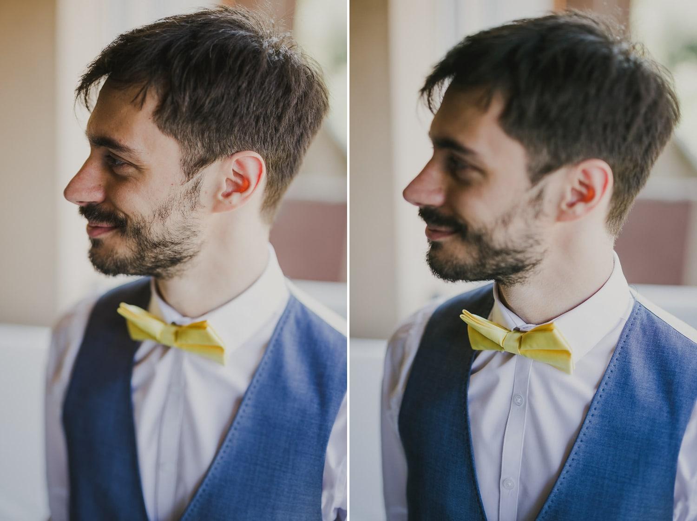 Lo sposo sfoggia un papillon vintage da abbinare al suo abito da cerimonia per il matrimonio a Verona.