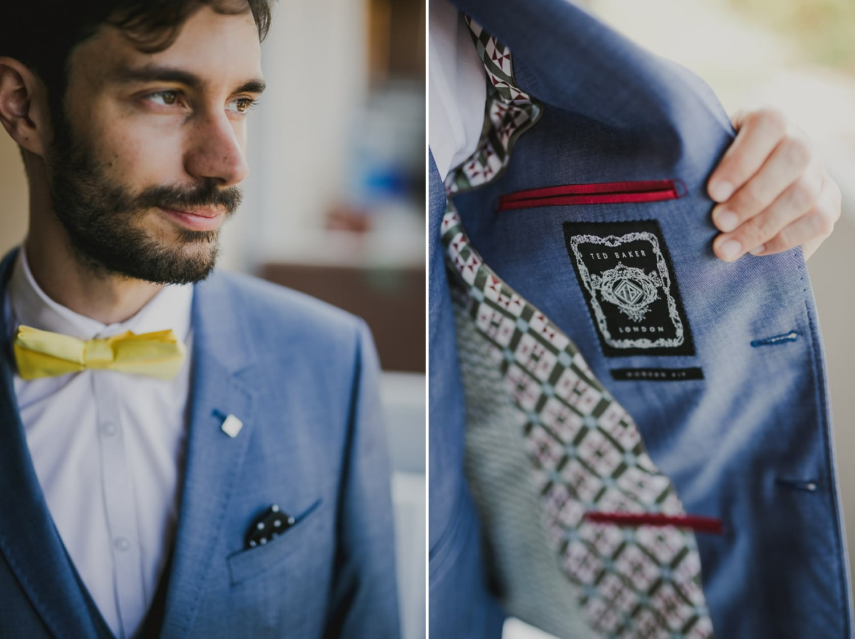 La giacca da cerimonia dello sposo ha una taschina interna.
