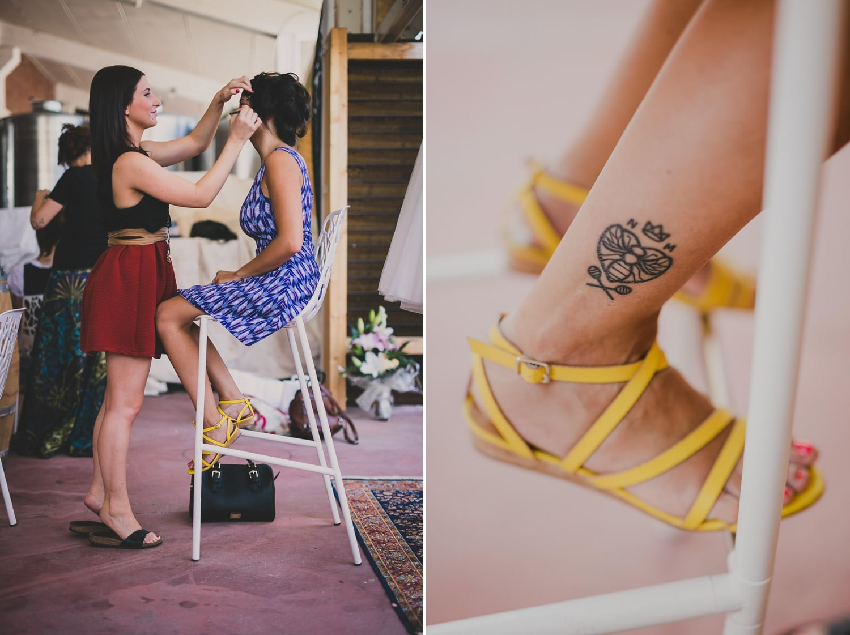 La makeup artist trucca la sposa in location sul Lago di Garda.