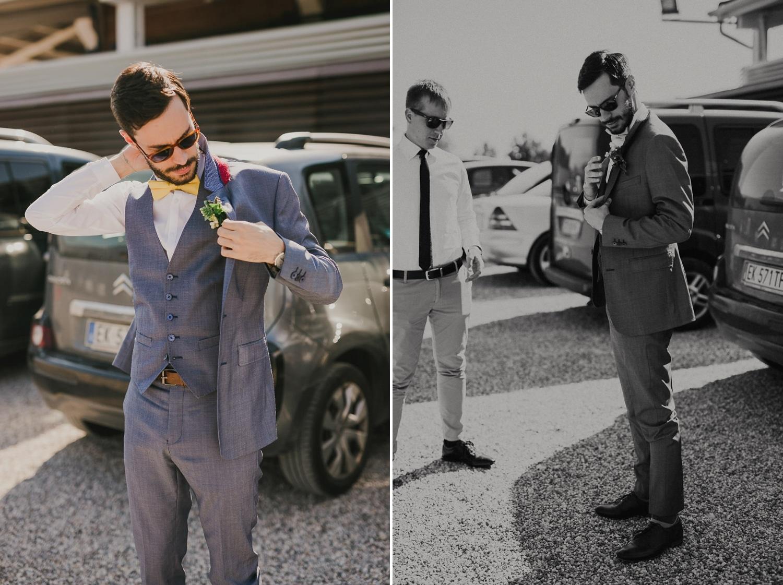 Lo sposo raggiunge il luogo della cerimonia del suo matrimonio sul Lago di Garda.