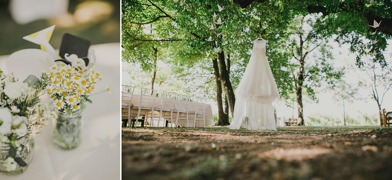 L'abito bianco da sposa è appeso ad un ramo di un albero del Roccolo del Lago, location per matrimoni a Lazise.