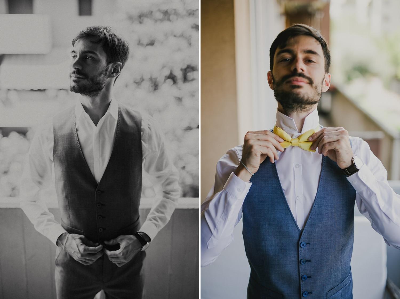 Lo sposo di Verona si veste con l'abito da cerimonia.